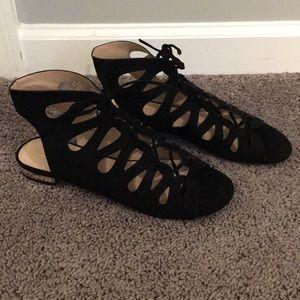 Topshop Black Faux Suede Gladiator Sandals Sz 9.5
